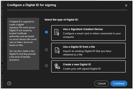 Image showing Selection to Create a new Digital ID in menu