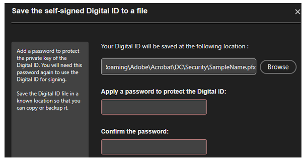 Image of Password Confirmation Screen
