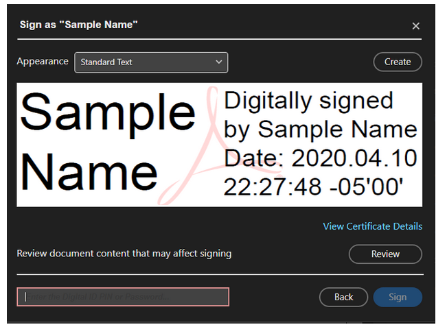 Image of SIgnture Screen needing password